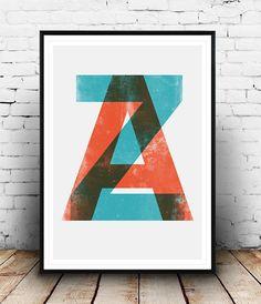 Letters print, Typography print, Alphabet print, Typography poster, Letterpress, Watercolor, Minimalist print, Office decor, modern print