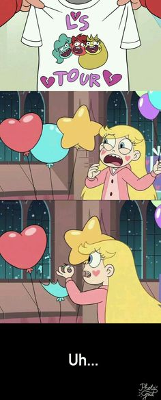 Star is obviously the yellow star and Marco wears the red hoodie and is totally the personification of a little heart and Jackie has the blue streak in her hair.