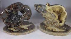 Premium Set of 2 Hollow Septarian Carvings from Utah (Bear & Bison)  + Slabs