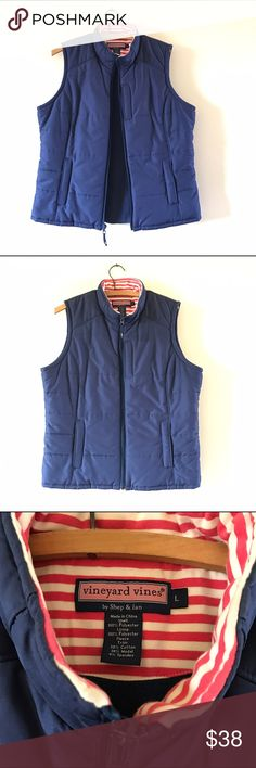 VINEYARD VINES Blue Polyester Winter Zip Vest L Pre-owned vineyard vines by Shep and Ian puffer vest. This puffer vest is in excellent condition. Navy Blue with nantucket red and cream striped top interior and a furry felling cozy interior throughout. Two side front pockets and one breast pocket, all with zippers to close and secure your pockets. Super preppy and cute! Size Large.  Excellent condition with little distinguishing used aspects. Vineyard Vines Jackets & Coats Vests