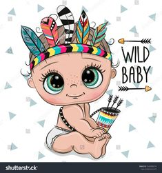 Illustration about Cute Cartoon Baby with feathers on a white background. Illustration of american, graphic, colorful - 160034391 Cartoon Cartoon, Cute Baby Cartoon, Cartoon Characters, Clipart Baby, Animal Drawings, Cute Drawings, Baby Girl Drawing, Baby Painting, Most Beautiful Animals