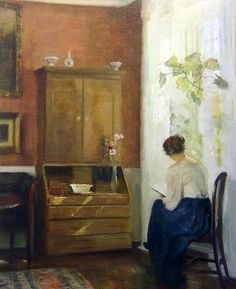 Still Life with Young Girl Reading. Carl Vilhelm Holsoe (Danish, Post-Impressionism, Oil on board. While Holsoe's airy brushwork evokes a sense of space, his also shows the magical pure light of the long Scandinavian. Johannes Vermeer, Reading Art, Woman Reading, Reading Nook, People Reading, The Artist, Post Impressionism, Expositions, Beautiful Paintings