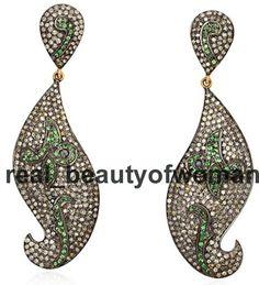 Vintage Victorian 5.26ct Pave Rose Cut Diamond Tsavorite Awesome Earrings Dangle #realbeautyofwoman #DangleEarrings