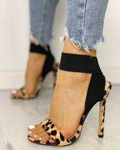 Leopard Single Strap Elastic Bandage Sandals Shop- Women's Best Online Shopping - Offering Huge Discounts on Dresses, Lingerie , Jumpsuits , Swimwear, Tops and More. Lace Up Heels, Pumps Heels, Stiletto Heels, Heeled Sandals, Sandals Outfit, Leopard Sandals, Shoes Sandals, Flat Sandals, Sexy Heels