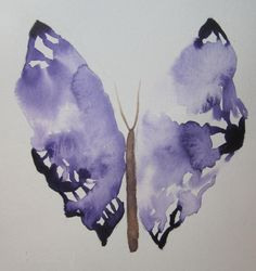 Original watercolor painting of a purple butterfly