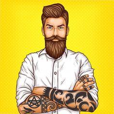 Векторная иллюстрация поп-арт жестокого бородатого мужчины, мачо с тату Бесплатные векторы