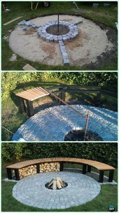 : DIY Cobble Garden Firepit with Bench Instruction - DIY Garden Firepit Patio Projects [Free Plans] DIY Garden Firepit Patio Projects [Free Plans]: Easy Backyard fire pit DIY ideas and instructions, block firepit, swing firepit, firepit patio layout. Garden Fire Pit, Diy Fire Pit, Fire Pit Backyard, Backyard Patio, Backyard Landscaping, Pergola Patio, Flagstone Patio, Wood Patio, Pergola Kits