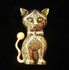 Vintage Handsome Damascene Cat Figural Pin Brooch, signed Spain from sarafinas on Ruby Lane, $70 USD
