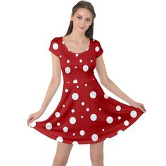 Mushroom pattern, red and white dots, circles theme Cap Sleeve Dress Fit And Flare, Creative Design, Circles, Cap Sleeves, Red And White, Stuffed Mushrooms, Dots, Womens Fashion, Fabric