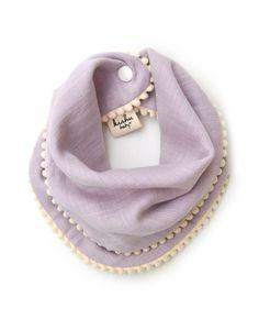 Lavender Pom Pom Bib for Girls with Ivory Trim
