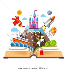 Imagination concept - open book with rocket, castle, boat, dragon, cowboy, air balloon . vector flat illustration - stock vector