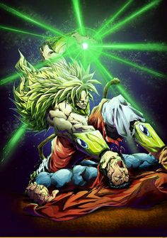 Super Saiyan Broly dominating Superman