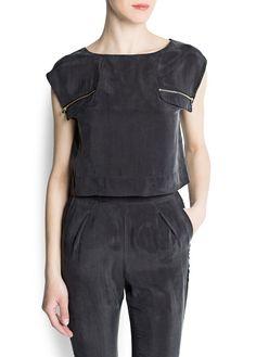 MANGO - Cupro cropped blouse