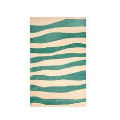 Modern Wave Stripe Outdoor Rug Aqua