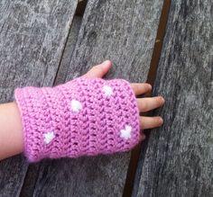Kids fingerless gloves pink polka dot crochet.  via Etsy.
