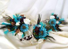 Peacock Wedding Bouquet Ideas | Peacock Wedding Bouquets Turquoise brown Bridal bouquet flowers ...