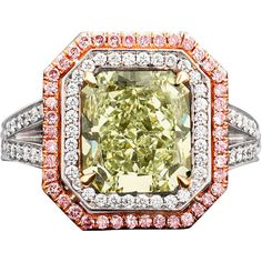 1STDIBS.COM Jewelry & Watches - Natural Green Pink Diamond Ring - MS Rau Antiques found on Polyvore