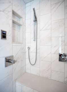 Vertical brick bond in contemporary shower design with steam shower, handheld and body sprays. Shower Panels, Shower Floor, Shower Niche, Master Bath Remodel, Master Bathroom, Basement Bathroom, Traditional Tile, Herringbone Tile, Luxury Shower