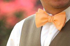 Men's Bow tie Peach 100% Cotton men's self tied Bow