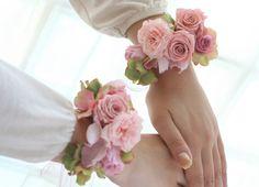 アクセサリ リストレット プリザーブドのピンク : 一会 ウエディングの花