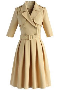 Dignified Demeanor Double Breasted Coat Dress - New Arrivals - Retro, Indie and Unique Fashion