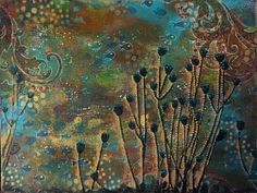 Gwen Lafleur is using lots of StencilGirl stencils in this mixed media piece!