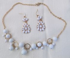 Vintage White Romantic Gold Beaded Necklace Earings Jewelry Bride Wedding