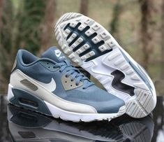 big sale fe37c 0a144 Nike Air Max 90 Ultra 2.0 Essential Blue Fox Light Bone 875695-401 Men s  Size