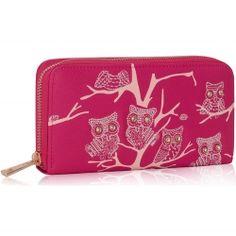 Peňaženka na zips s kamienkami Sova, fuchsia 15887