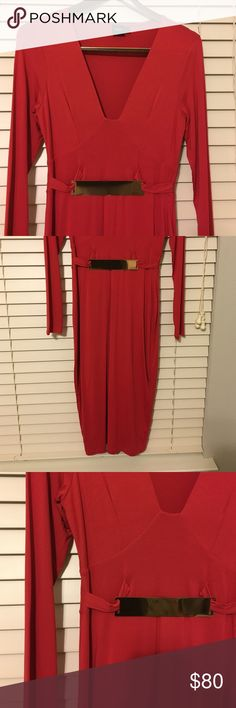 Long sleeve Red hot bodycon dress with gold bar The softest material ever. Bought on asos. NWOT. The perfect going out dress. ASOS Dresses Midi