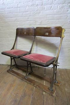 Vintage Retro 30s 40s Cinema Theatre Chairs 2 Seats Church Bench Industrial