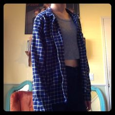 Navy blue BDG flannel shirt Navy blue BDG flannel shirt (says large but fits like a small) Urban Outfitters Tops