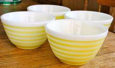 Yellow Stripe Pyrex Bowls Set