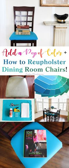 If you saw my last post, 'I'm Changing My Life with Color! What's Your Color Story?', you'll know that I was planning a fun and fabulous DIY project based on some amazing advice from the new book Change Your Home, Change Your Life™ with Color by Moll Anderson. Well, not only did I add a pop of color to my dining room, I added six. :) I reupholstered my dining room chairs and I'll show you how you can too! #LiveLoveColor #ad