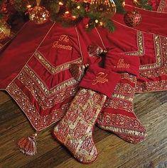 Elegant Christmas Trees, Christmas Skirt, Christmas Runner, Magical Christmas, Christmas Pillow, Christmas Tree Toppers, Red Christmas, Christmas Ornaments, Velvet Christmas Stockings