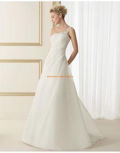 Elegante Einschulter A-linie rückenfrei Hochzeitskleider aus Organza 105 EDITH | luna novias 2014