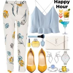 Happy hour! by nvoyce on Polyvore featuring WithChic, River Island, Christian Louboutin, Yves Saint Laurent, Olivia Burton, W. Britt, Burberry, OPI and happyhour