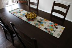 Mini Charm Mix Table Runner/Crib/Lap Quilt - looks great, and I really like the crosshatch quilting