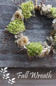 A lovely romantic Fall wreath made with fabric scraps, tea died flowers and fresh hydrangea. www.songbirdblog.com