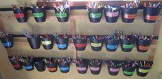 Pots de feutres individuels - La classe de Marion Maternelle Grande Section, Cycle 1, Getting Organized, Pots, How To Get, Organiser, School, Kindergarten Classroom, Nursery School