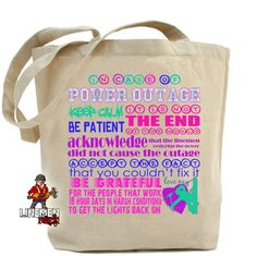 Linemen Rock - In Case of Power Outage Canvas Tote, $12.50 (http://www.linemenrock.com/in-case-of-power-outage-canvas-tote/)