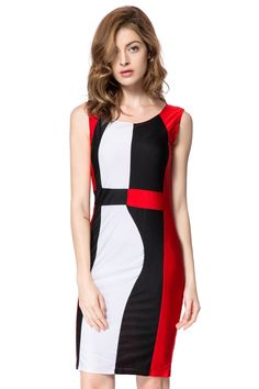 Color Block Sleeveless Scoop Neck Packet Buttock Trendy Dress For Women