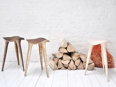 LMBRJK Sadl Stool.  Elegance and ergonomics at its best. This stool is a mutual partnership between mechanic precision and human sensibility. Its laser-cut and hand-assembled by the LMBRJK studio in signature style dubbed digital wood, originally designed on the computer using 3-D CAD software. Sheets of plywood are cut and reassembled into a functional form for sitting, with its strength created by the multilayered structure.