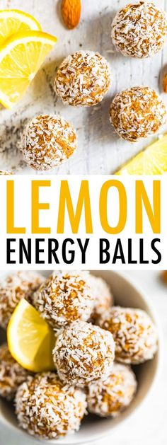 Snack healthy with these lemon energy balls! Made with almonds, dates, lemon and coconut, these little bites are tasty, portable and take only 10 minutes to make! This easy no-bake snack is vegan, gluten-free and grain-free! #vegan #lemon #energyballs #snack #nobake #glutenfree #coconut Good Healthy Recipes, Healthy Treats, Healthy Baking, Whole Food Recipes, Snack Recipes, Easter Recipes, Healthy Desserts, Brunch Recipes, Vegan Recipes