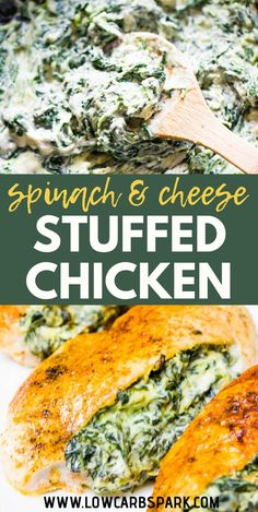 Cream Cheese Spinach Stuffed Chicken Breast {Low Carb,Keto} This stuffed chicken breast is packed with delicious spinach and creamy garlic filling. The perfect Cream Cheese Spinach, Cream Cheese Chicken, Cream Cheeses, Spinach Stuffed Chicken, Baked Chicken, Chicken Spices, Keto Chicken, Low Carb Meals Chicken, Meals With Chicken Breast