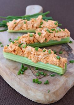 Buffalo Chicken Celery Sticks are a tasty low carb lunch or snack - or even appetizer!