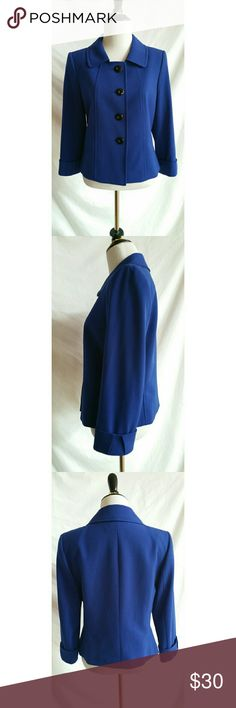 Tahari ASL Size 4 Blue Blazer Jacket Polyester,  rayon,  spandex.   Polyester.   Dry clean.   Beautiful. Tahari Jackets & Coats Blazers