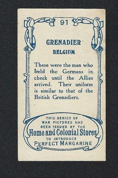 HOME & COLONIAL STORES WAR PICTURES DIFFERENT NO 91 GRENADIER BELGIUM | eBay