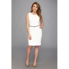 Calvin Klein - Textured Ponte Dress w/ Belt CD4P2UCK (White) - Apparel - product - Product Review