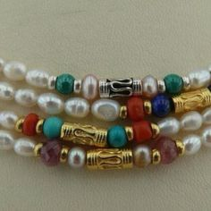 Pearls, Turquoise, Lapis, Malachite with silver gold plated beads.